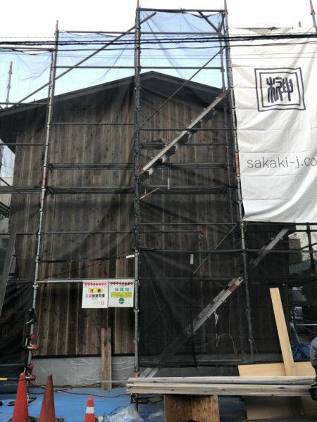 外壁 杉板仕上げ施工中